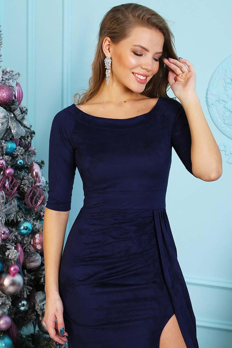 d6a55e7c7bc Платье женское П 205 замша (р-ры  44-54) темно-синий – купить за ...